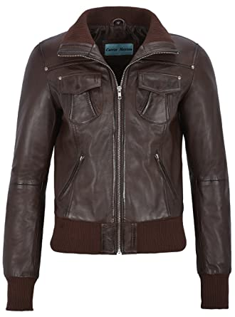 87732d00a Fusion' Ladies Brown Washed Short Bomber Biker Motorcycle Style ...