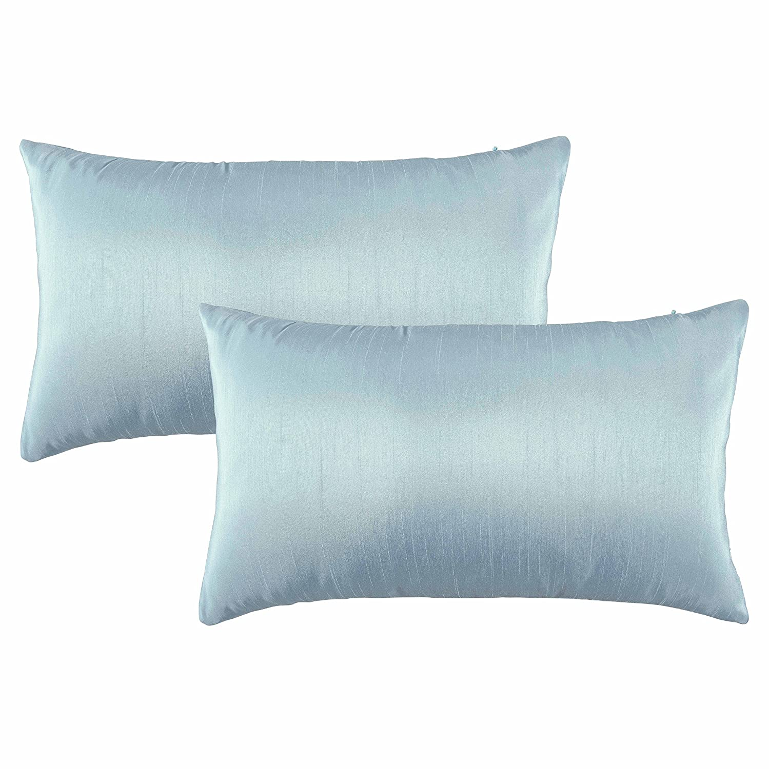 547d189e89c Pony Dance Luxurious Faux Slik Home Decorative Rectangle Throw Pillow Covers  Handmade Pillowcases Cushion Covers Shells for Bed,Sky Blue,12 by 20 Inch, Set ...