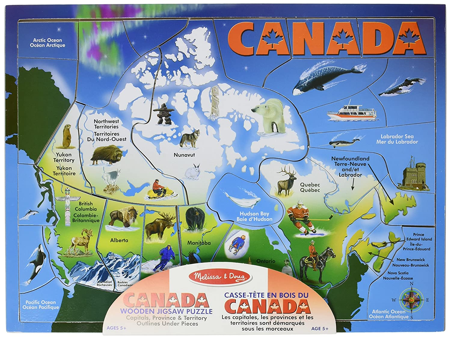 Melissa Doug Canada Map Puzzle Jigsaw Puzzles Amazon Canada - Canada map puzzles