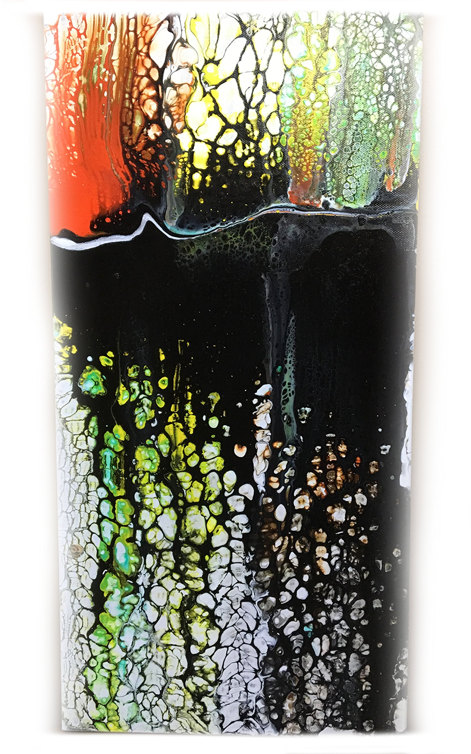Original Fluid Acrylic Abstract on a 10'' x 20'' Stretched Canvas ''Harvest''