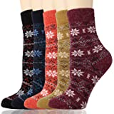Diravo Womens Super Thick Soft Knit Wool Warm Winter Crew Socks Casual Socks Best Gift Ideas-5 Pack