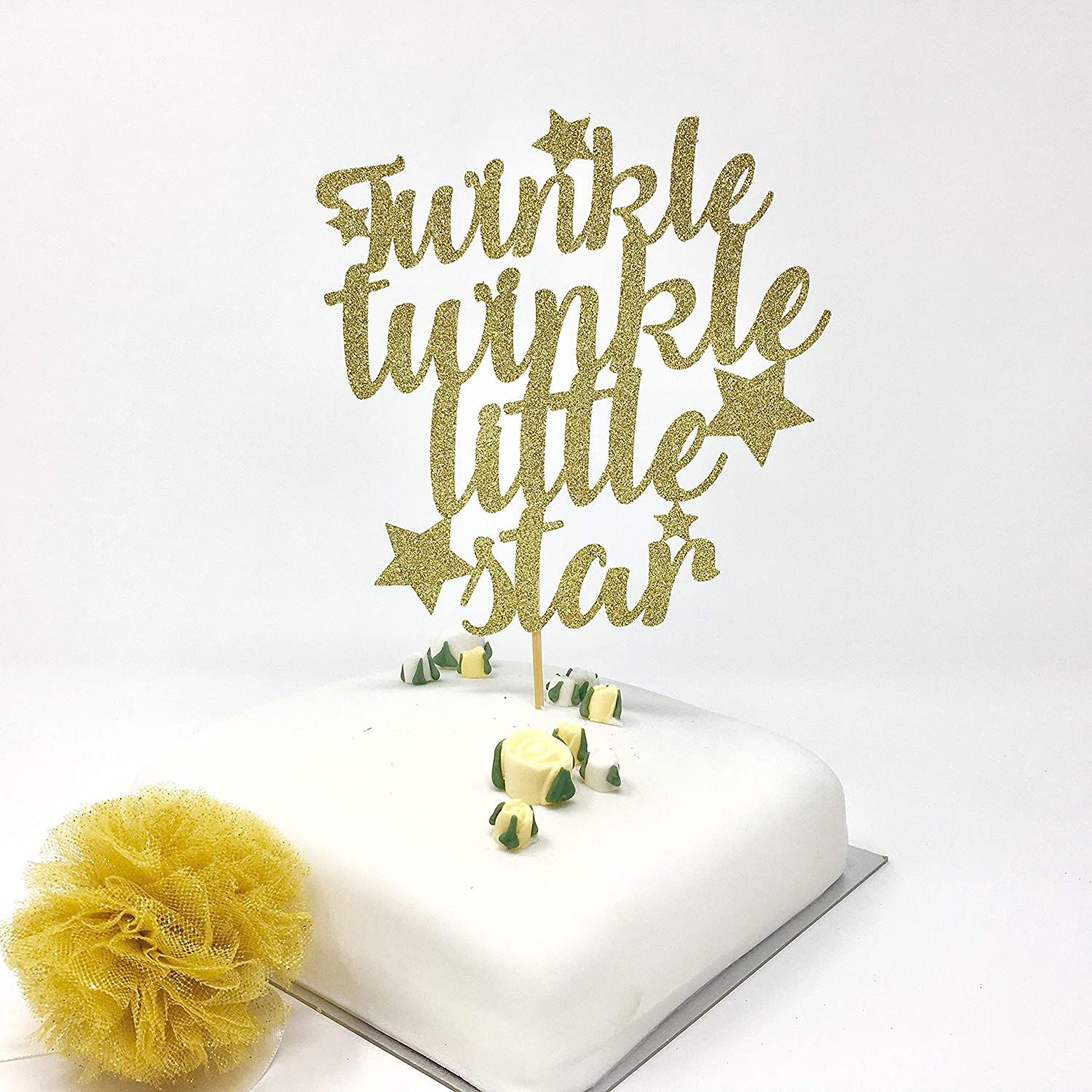 Twinkle twinkle little star cake topper. Baby shower cake idea. Birthday cake decor. 1st birthday, first party cake. Script party cake.