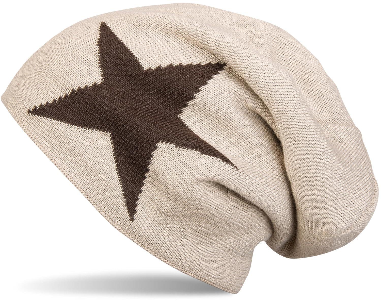 styleBREAKER warme klassische Strick Beanie Mütze mit Stern und sehr weichem Innenfutter, Unisex 04024026 Farbe:Dunkelgrau