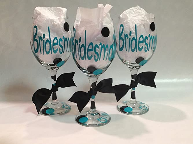 Amazon.com: Bridal Party Wine Glasses, Bridal party gift, Maid of ...