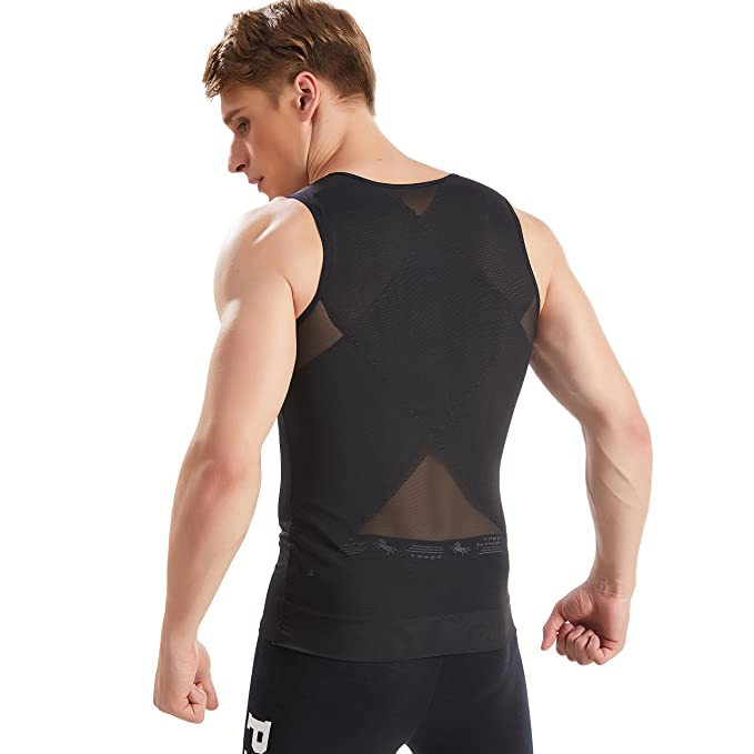 94673e52a5c HANERDUN Mens Slimming Body Shaper with Zipper Compression Shirt Slim  Shapewear at Amazon Men s Clothing store