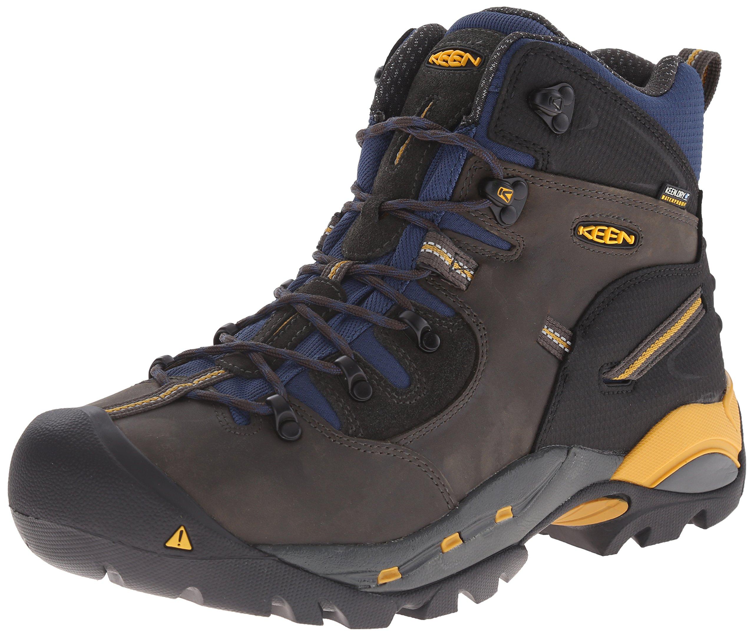 KEEN Utility Men's Pittsburgh Work Boot (Steel Toe),Raven/Yellow,10 D US