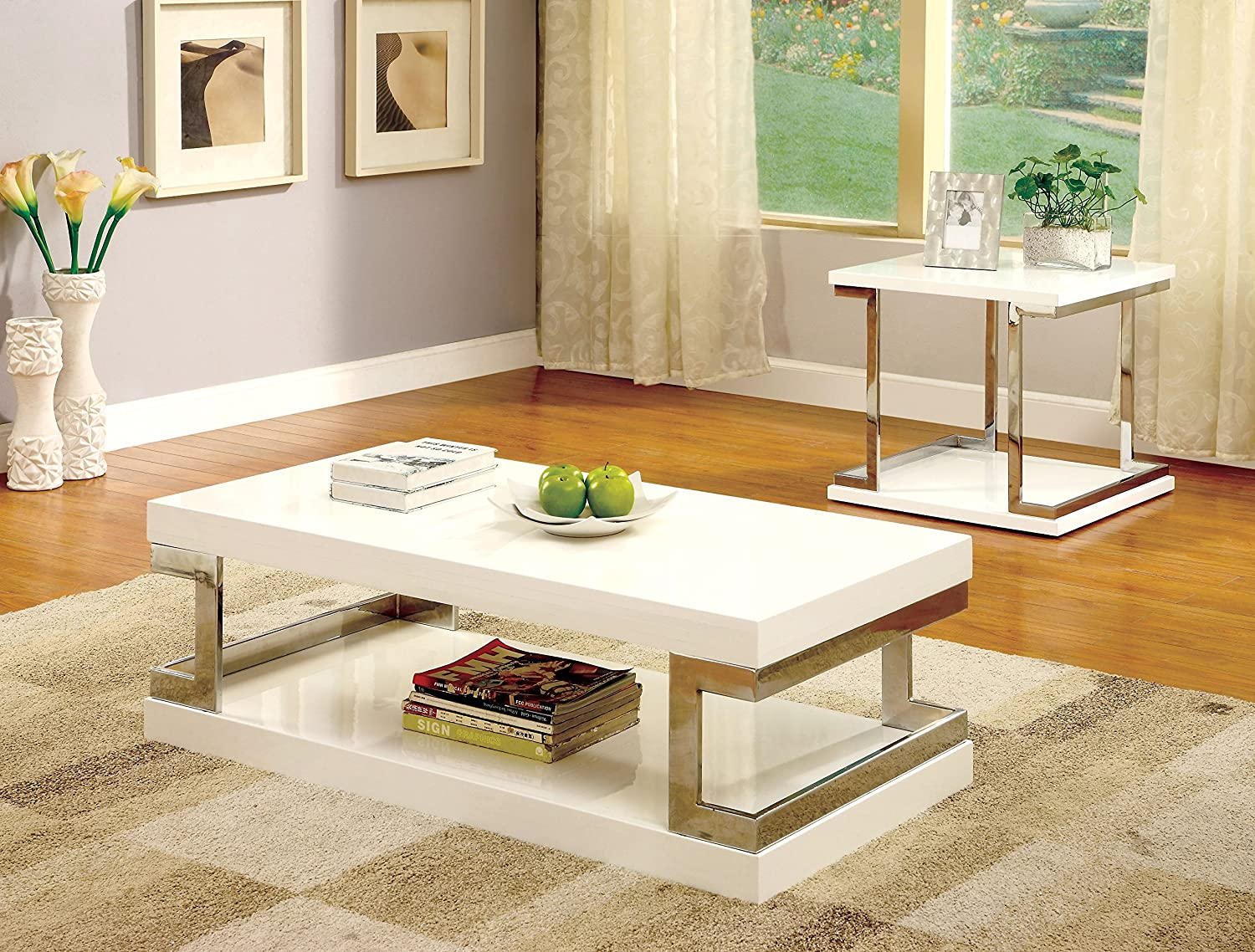 amazoncom furniture of america adina modern coffee table white kitchen dining - Modern Coffee Table Sets