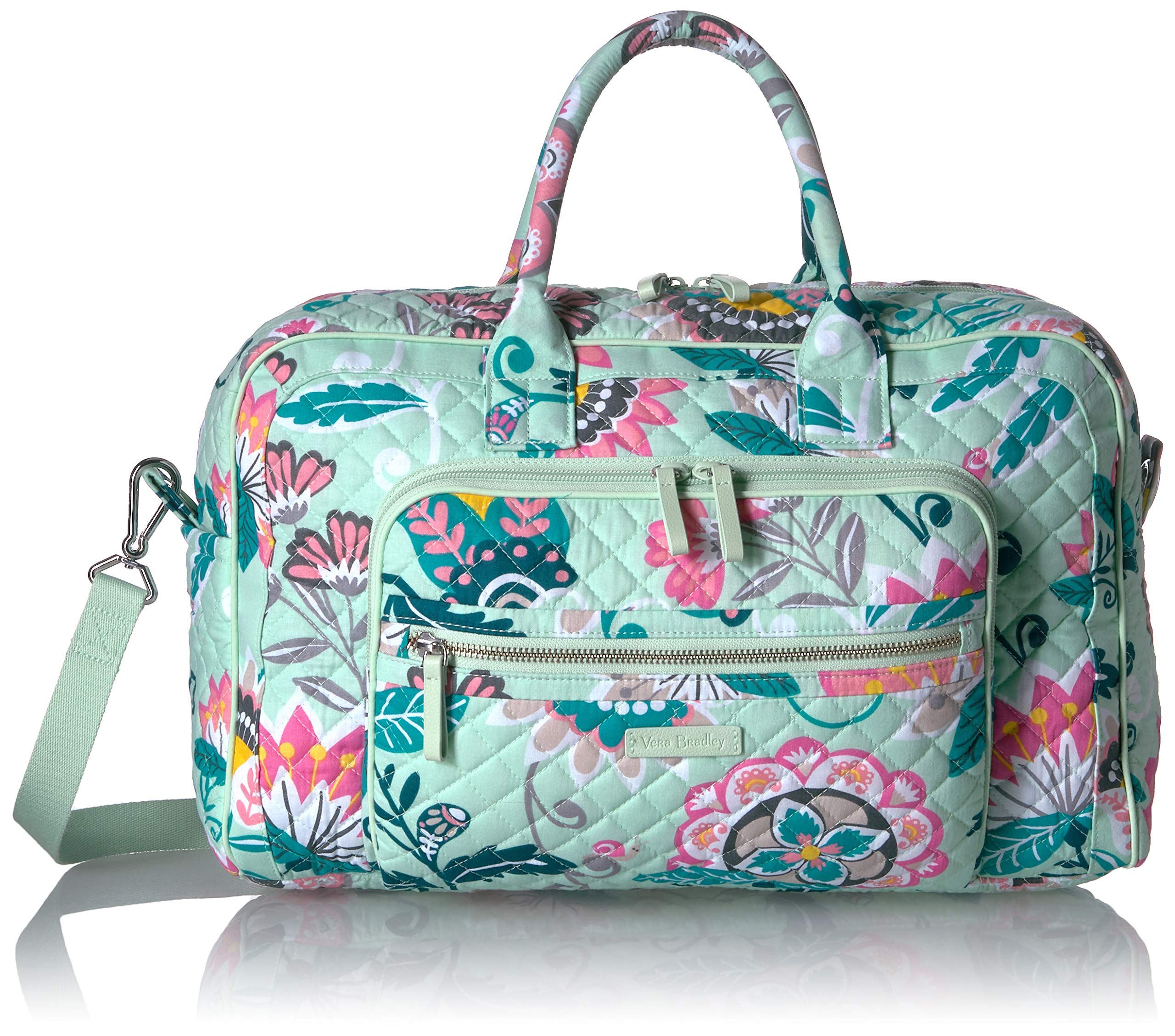 Vera Bradley Iconic Compact Weekender Travel Bag, Signature Cotton, Mint Flowers