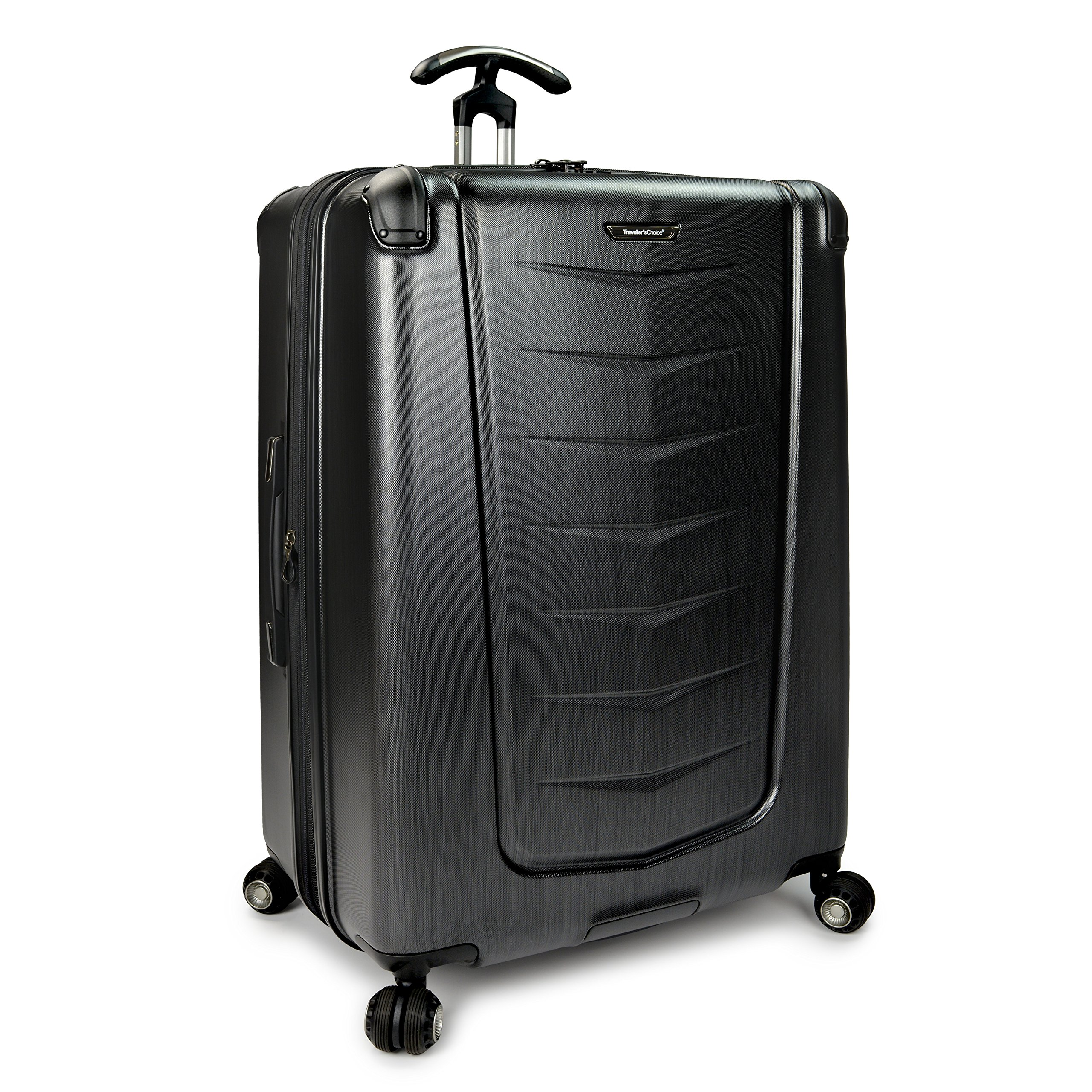 Traveler's Choice  Silverwood Polycarbonate Hardside Expandable Spinner Luggage Case - Brush Metal-Inch) by Traveler's Choice