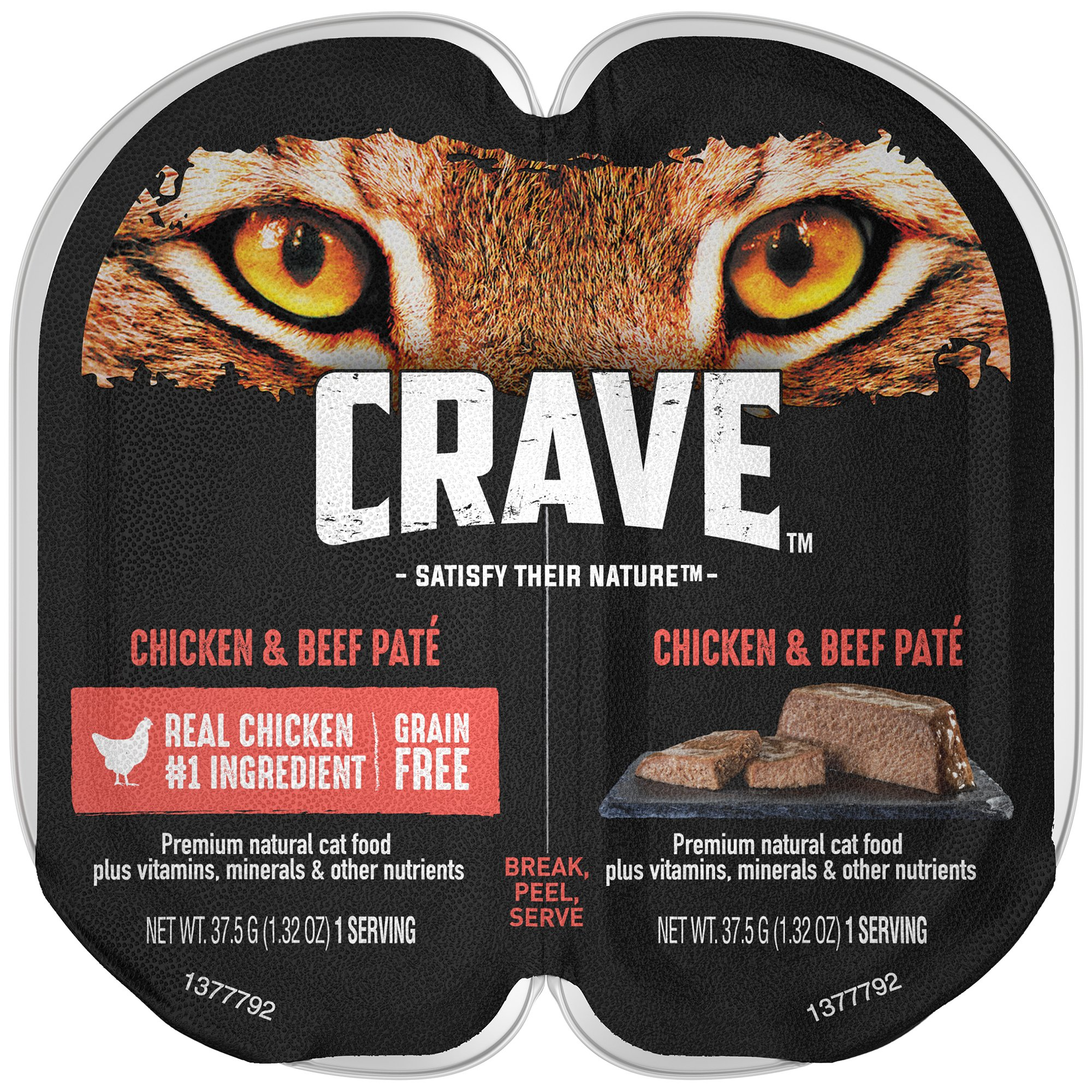 Crave Grain Free Adult High Protein Wet Cat Food Paté Chicken & Beef, (24) 2.6 Oz. Twin-Pack Trays by CRAVE