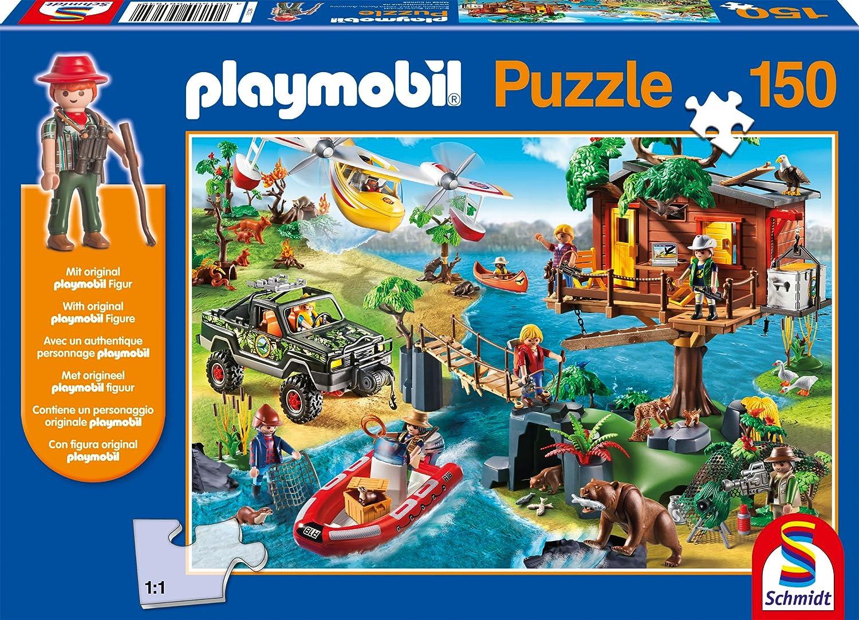 Schmidt Spiele 56164 - Playmobil, casa del árbol, 150 Partes, clásico Puzzle, Incluyendo la Figura