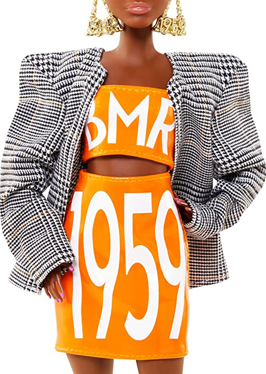 TOP~BARBIE DOLL PETITE MADE TO MOVE BMR1959 ORANGE PLEATHER TUBE SHIRT ACCESSORY