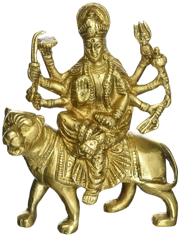 Amazon.com: Hindu Goddess Durga Metal Brass Sculpture Art: Home ...