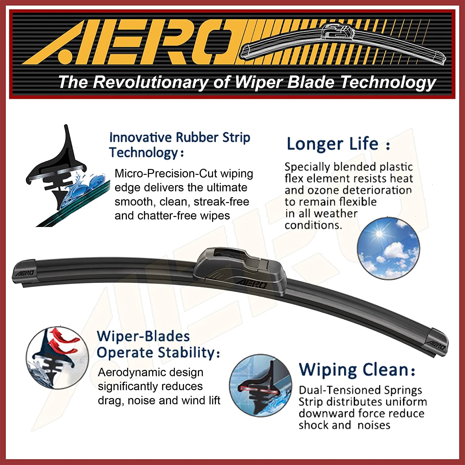 16 AERO Premium All-Season Windshield Wiper Blades Set of 2 OEM QUALITY 26