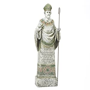 Joseph's Studio Standing St. Patrick Garden Statue with Verse Inscribed on The Front, 26.5-Inch, Made of Resin Stone