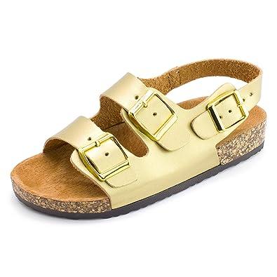9f6f6e36b8f18f Kali Girls Open Toe Buckle 2 Strap Ankle Hook Sandals