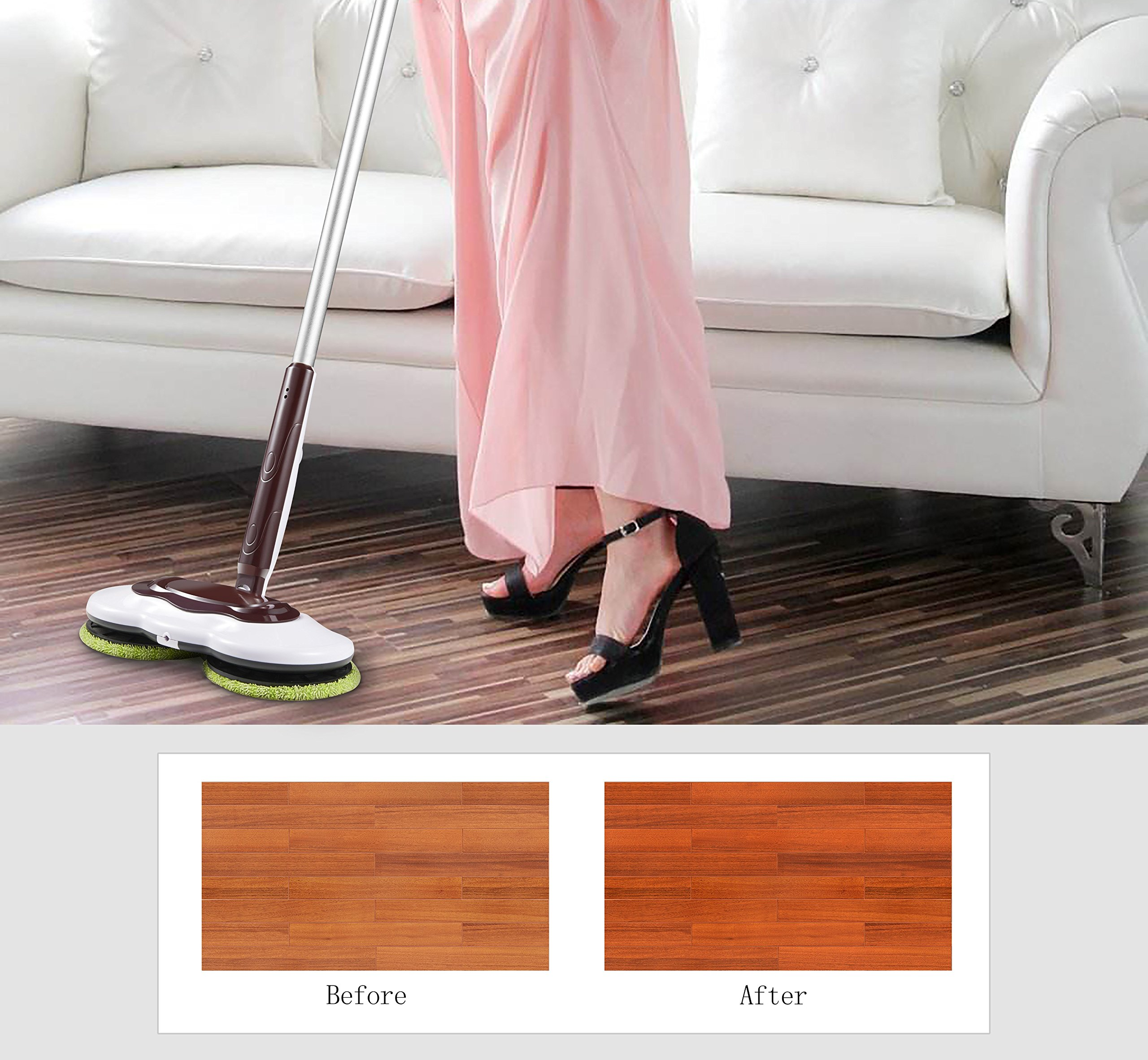 Armati Hardwood Floor Mop - 360°Cordless Tub and Tile Scrubber with Batteries - Cleaning System for Polishing, Mopping, Sweeping - Orange by Armati (Image #4)