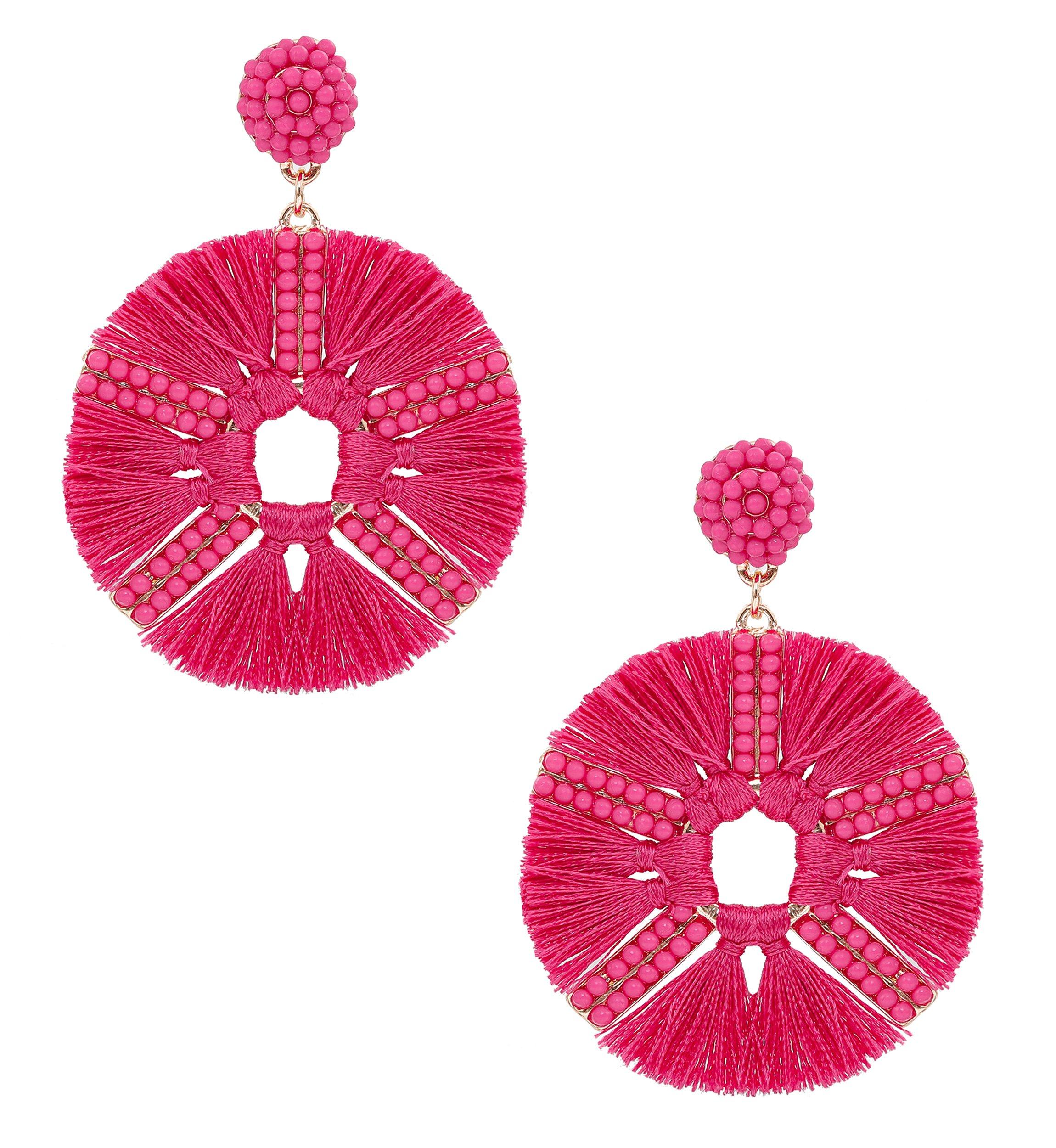 HSWE Round Beaded Tassel Earrings for Women Short Fringe Drop Earrings Dangle Drop Earrings (rose red)