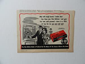 Gillette Blades, 40's Print Ad. B&W Illustration (man and woman at bank) Original Vintage 1940 Liberty Magazine Print art ***store link [www.amazon.com/shops/ads-thru-time]