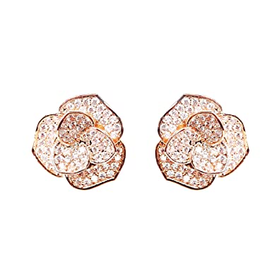 b28d8073f85 Amazon.com  EVERU Fashion Jewelry Rose Gold Flower Stud Earrings  Jewelry