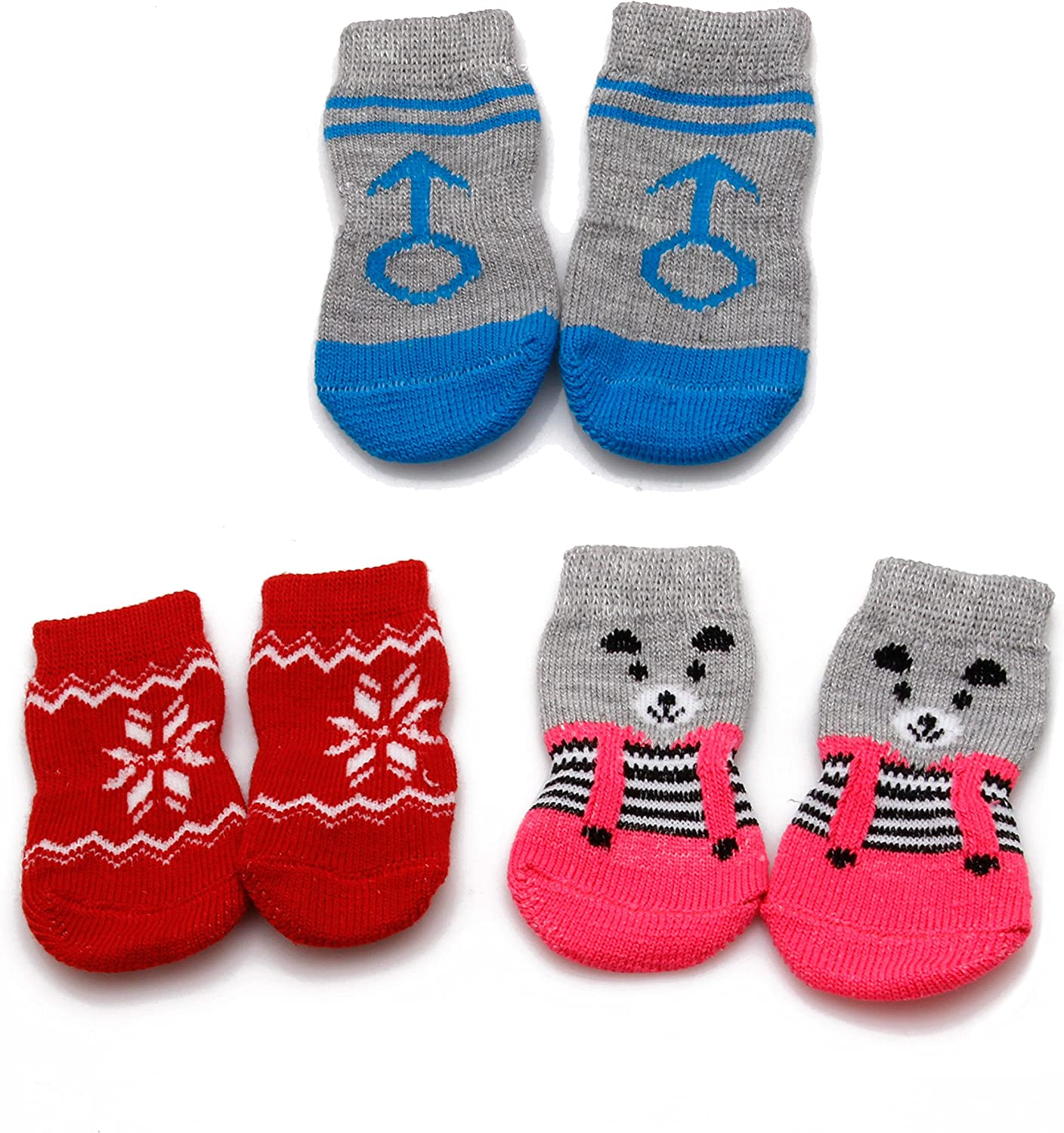 llwei258 4 Pcs Puppy Dog Socks Pet indoor Soft Warm Clothes Cotton Anti-slip Boot Booties S