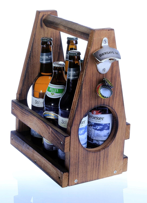 Bier-Sixpack aus Massiv-Holz von BIERSAFE mit Öffner und Fangmagnet im Vintage-Style, aus schwerem Schiffsholz, Oberfläche geflämmt, mit Edelstahl-Schrauben. BIERSAFE.de