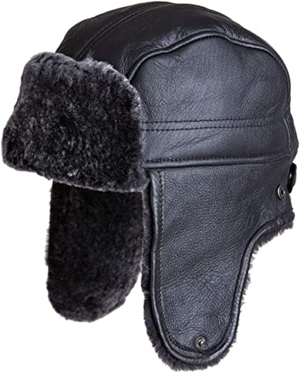 4e593a1eb11 Amazon.com  Spanish Shearling Sheepskin Convertible Trapper Hat  Clothing