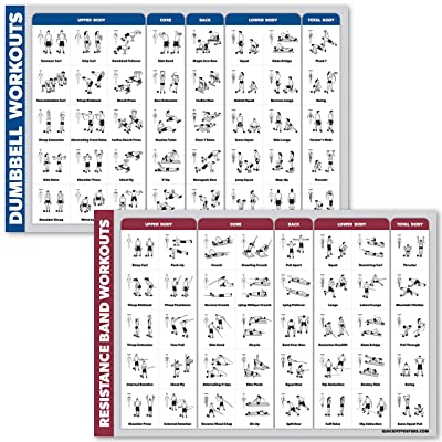 Dumbbell Workouts and Resistance Bands Exercise Poster Set Laminated 2 Chart