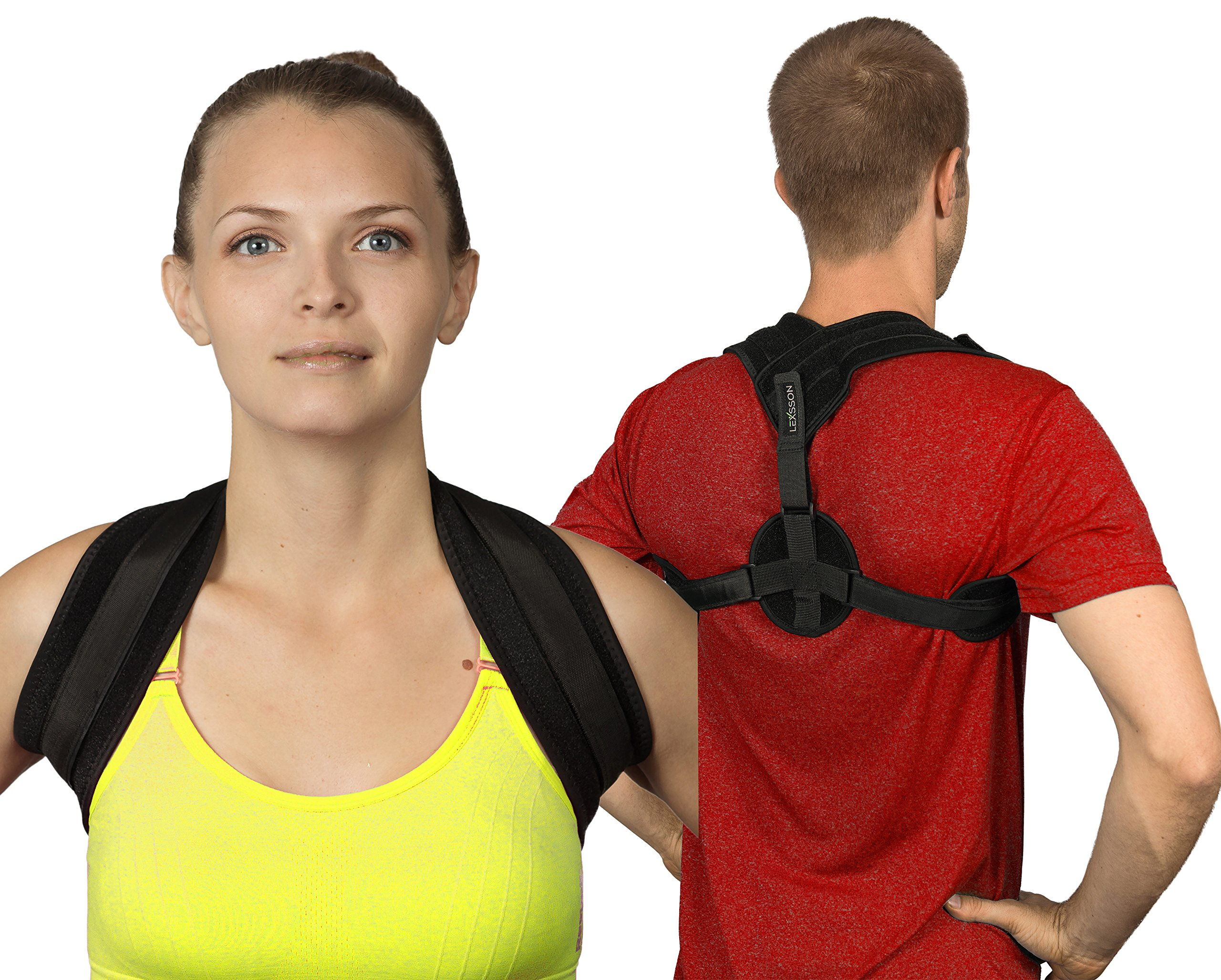 LEXSSON Posture Corrector Back Support Brace for Men & Women: Adjustable & Wearable Medical Posture Device with Comfort Shoulder Straps to Improve Lumbar, Thoracic & Cervical Pain & Slouching