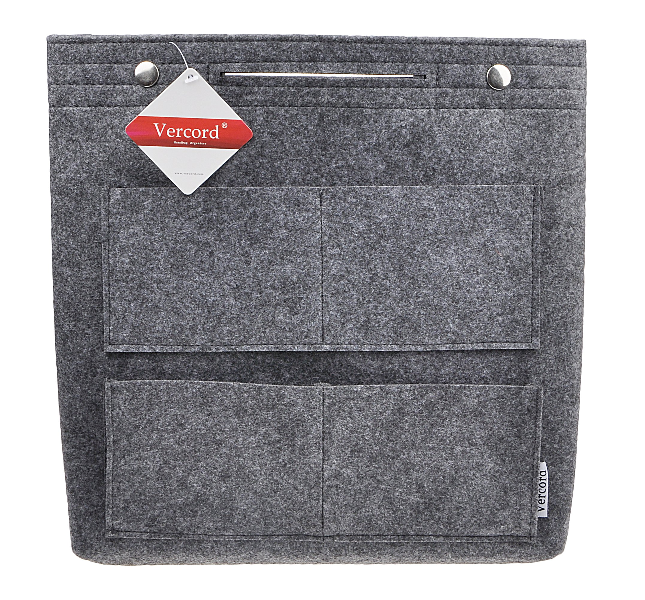 Vercord Felt Tote Handbag Purse Pocketbook Organizer Insert Divider Shaper Bag in Bag, Xlarge-Dark Grey