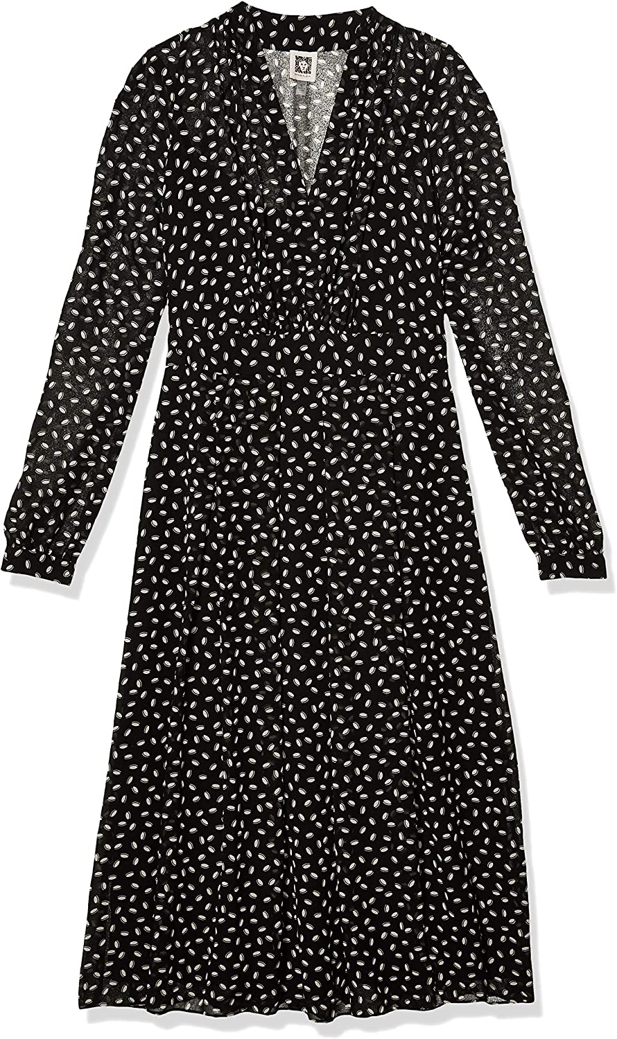 Anne Klein Women's Long Sleeve Vneck Fit and Flare Dress