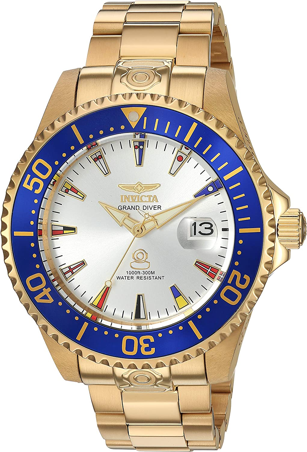 Invicta Men s Grand Pro Diver Automatic-self-Wind Watch with Stainless-Steel Strap, 22 International Watch