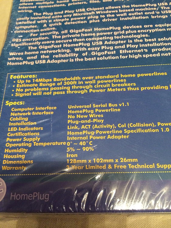 Gigafast Pe901 Ui 14mbps Homeplug Usb Network Adapter Wiring Diagram For Wrt54g Electronics