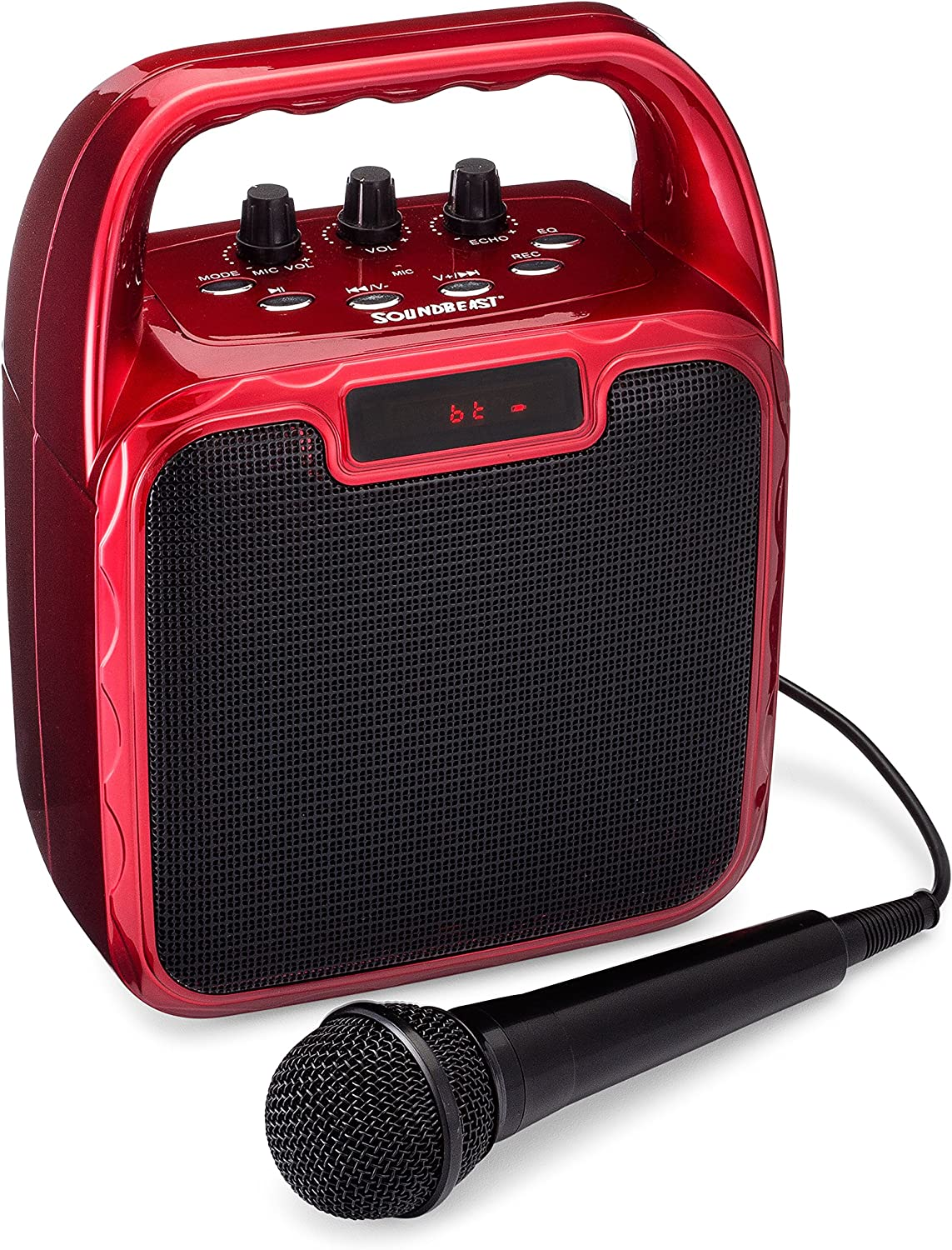 SoundBeast Pegasus Karaoke Machine & Portable PA Speaker System For Kids & Adults - With Microphone & Bluetooth (Red)