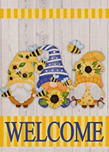 Covido Home Decorative Spring Summer Welcome Garden Flag, Sunflower Gnome House Yard Lawn Decor Flower Bee Stripe Outside Decorations, Seasonal Outdoor Small Burlap Flag Double Sided 12x18