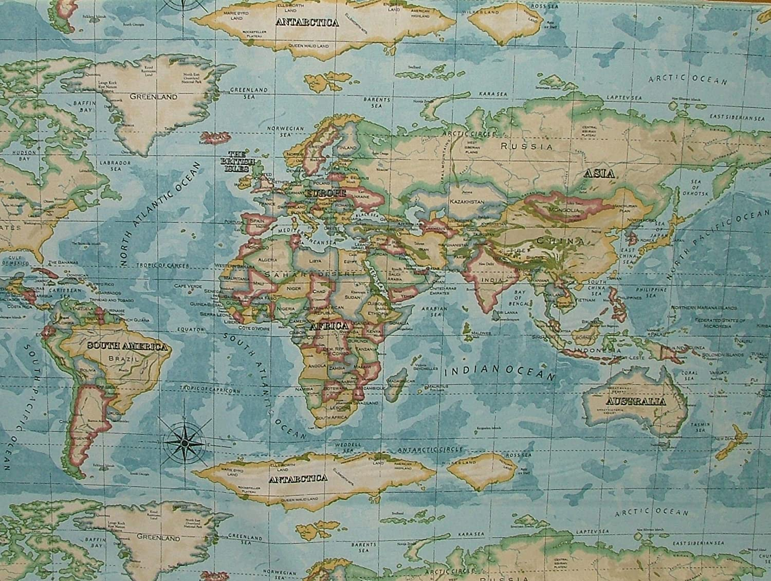Prestigious Atlas World Map Azure Prestigious Designer Fabric By The Metre