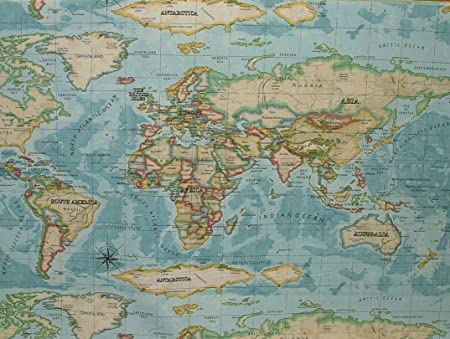 Prestigious Atlas World Map Azure Prestigious Designer Fabric By The ...