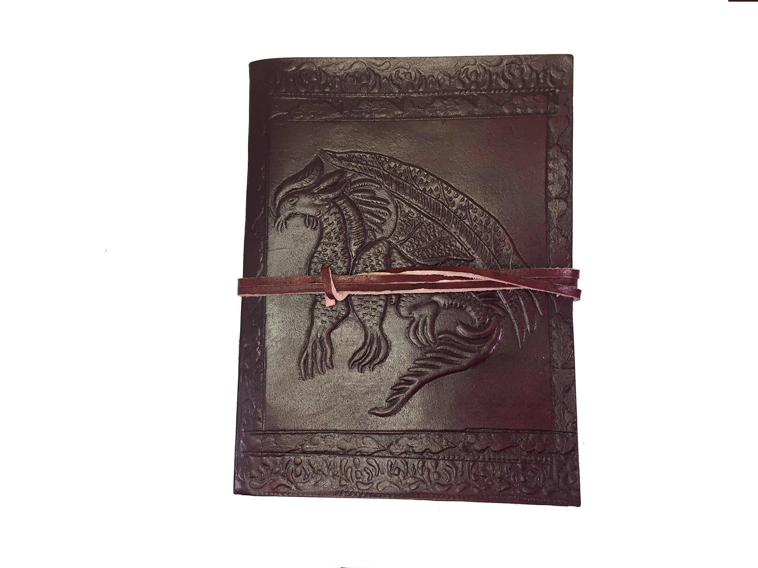 Genuine Leather Journal Dragon Embossed – Handcrafted Real Leather Bound Book - Handmade Paper – Vintage Style For Creative Writing, Sketching, Dream Diary or Travel Journaling – Dragon Gift Idea 5x7''