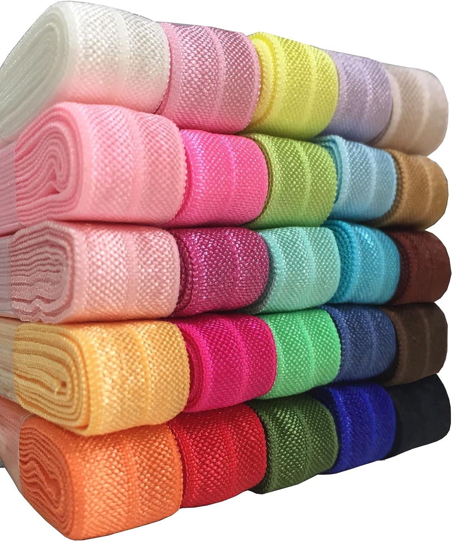 Duoqu 25 Yards 5//8 Ribbon Elastic Foldover Elastics Stretch Hair Ties Headbands for Baby Girls Hair Bow 25 Colors 1 Yard Each One