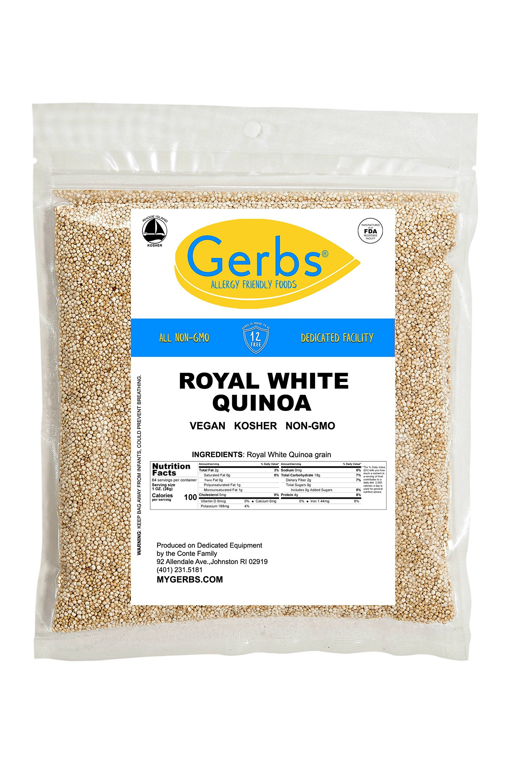 GERBS White Quinoa Grain, 4 LBS - Top 12 Food Allergy Free & NON GMO by Vegan & Kosher – Packaged on Dedicated Equipment in USA