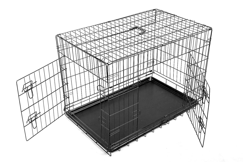 FoxHunter Cage de transport pliante en métal pour chien et chiot Avec double porte et plateau Taille S 60 cm Noir KMS