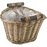 Handmade Woven Wicker Basket with Wood Handle & Lining / Decorative Rustic Garden Small Planter Pot