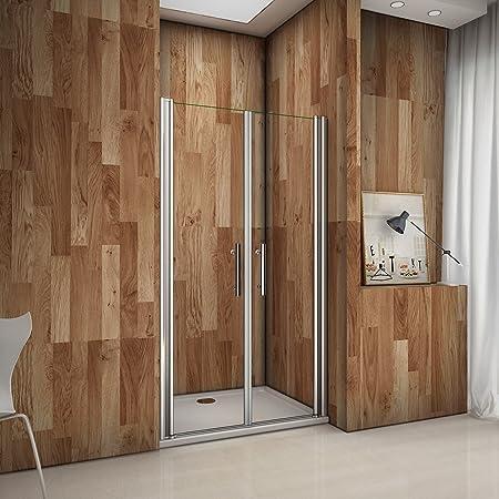 Porte de douche pivotante 90x195 cm verre sabl/é et anticalcaire installation en niche les vitres peuvent tourn/é /à 180/°