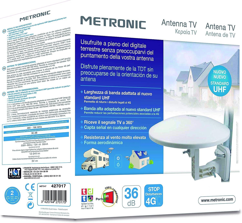Metronic 427017 - Antena exterior omnidireccional con toma F, ganancia 36 dB, blanca