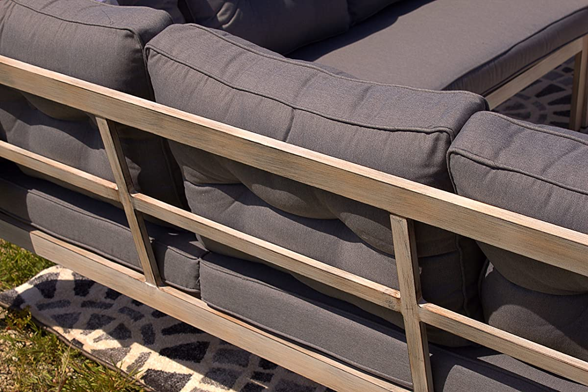 Aluminum 6pc Adjustable Lounger Patio Furniture Sectional with Premium Outdoor Cushions