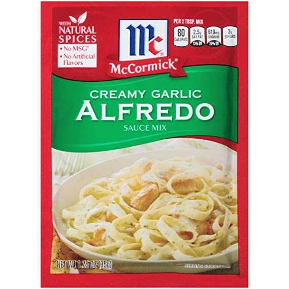McCormick Pasta Sauce Blend, Creamy Garlic Alfredo, 1.25 Ounce Unit (Pack of 12