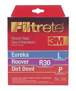 3M Filtrete Eureka/Hoover / Dirt Devil L / R30 / P Allergen Vacuum Bag, Single Unit, White
