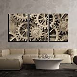 Wall26   3 Piece Canvas Wall Art   A Mechanical Background With Gears And  Cogs