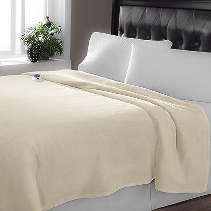 Serta Luxe Plush Low Voltage Electric Heated Micro Fleece Blanket, Twin,  Cloud