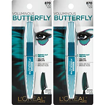 LOreal Paris Cosmetics Voluminous Butterfly Waterproof Mascara, Black, 2 Count